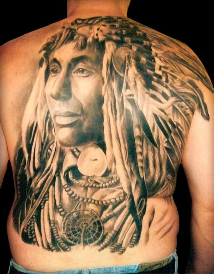 Huge whole back 3D realistic lifelike traditional American Indian chef tattoo
