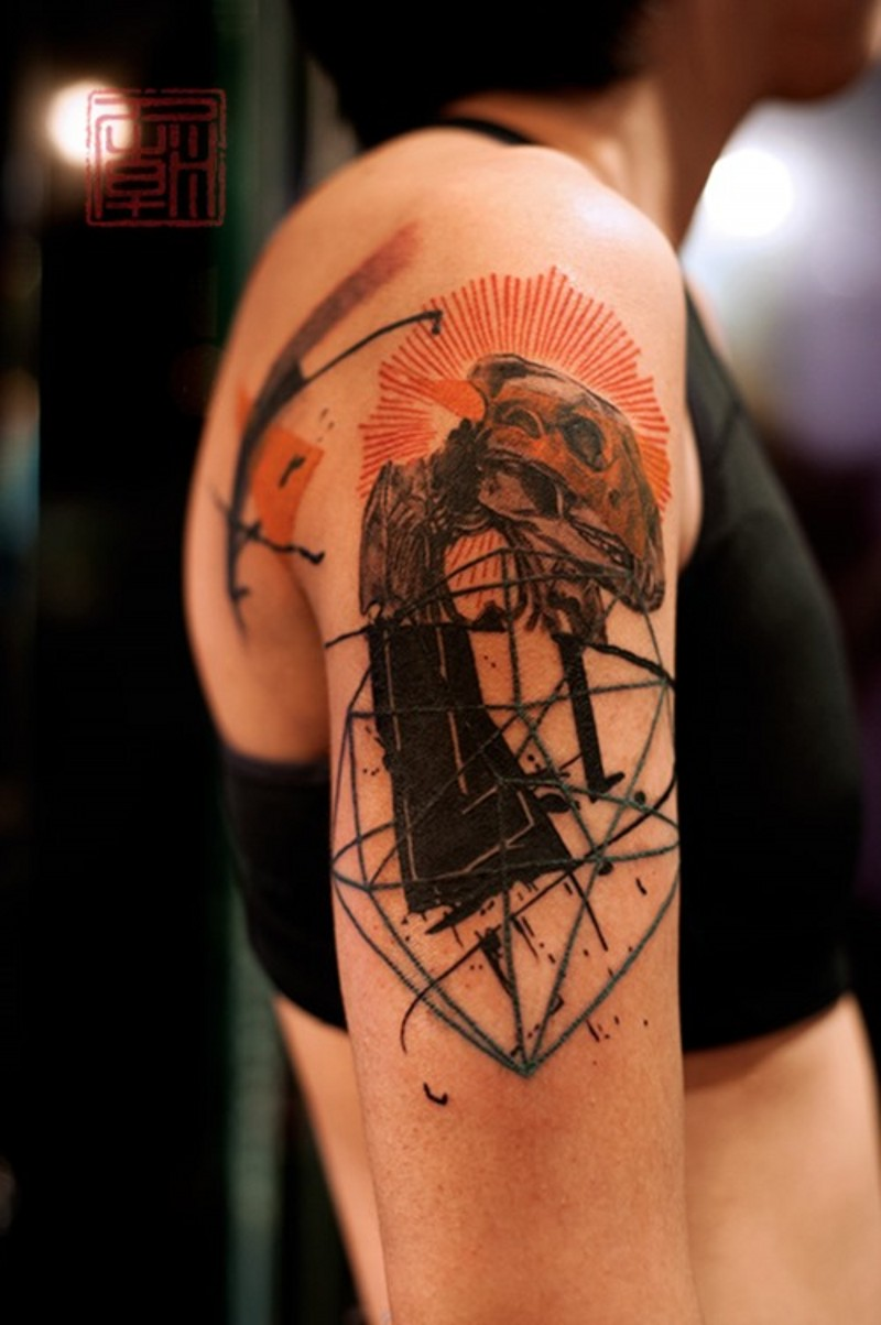Human skull and red sun upper back tattoo in Polka trash style with geometrical elements