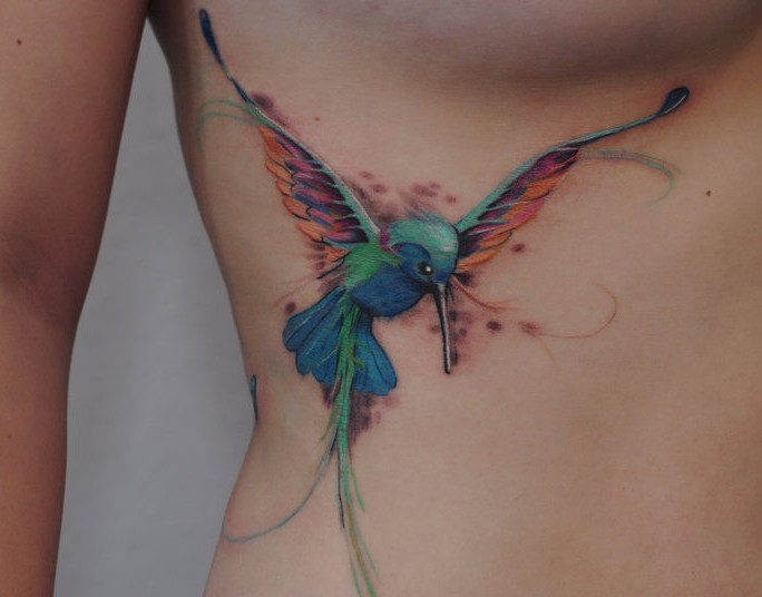 Hummingbird tattoo by dopeindulgence