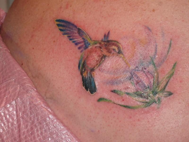 Tatuaggio piccolo l&quotuccello colorato & il fiore