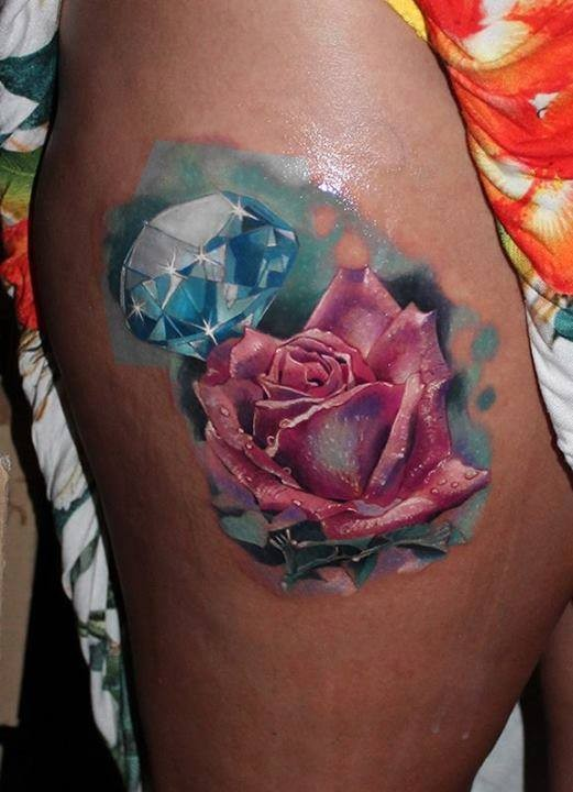 Hyper Realistic rose and diamond tattoo