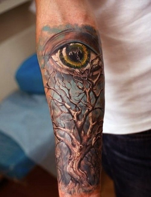 Hypnotizing painted very detailed 3D colored lonely tree with big eye tattoo on forearm