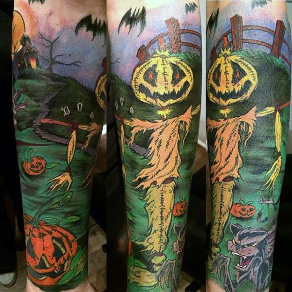 Illustraive style colored creepy monster cemetery tattoo on sleeve