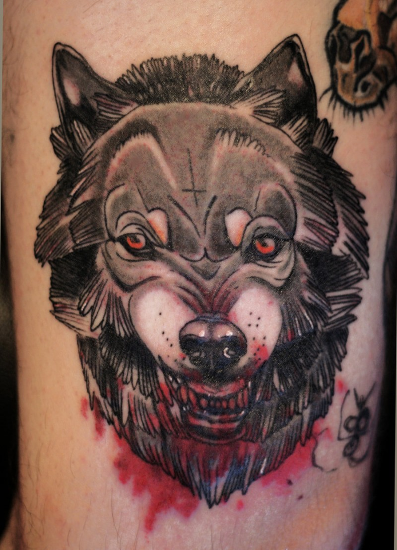 Illustrative colored bloody werewolf tattoo stylized with small cross