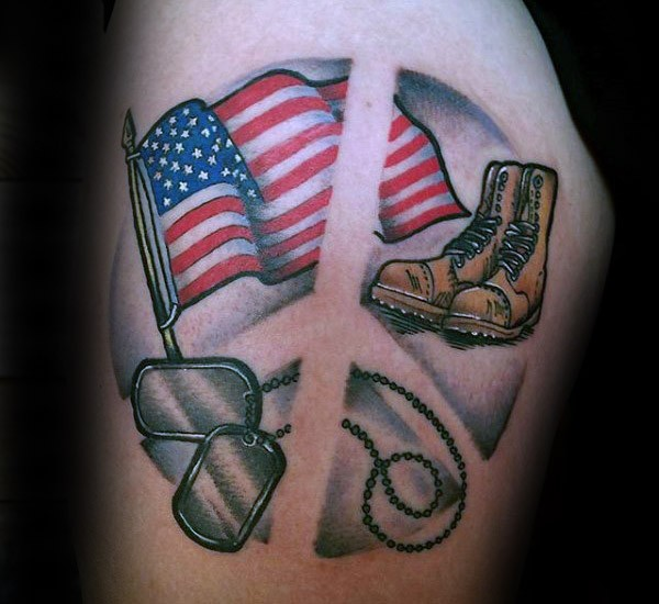 Illustrative style American native colored thigh tattoo of flag with soldier boots and dog tags