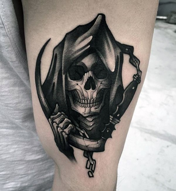 Illustrative style black and white arm tattoo of Grimm reaper