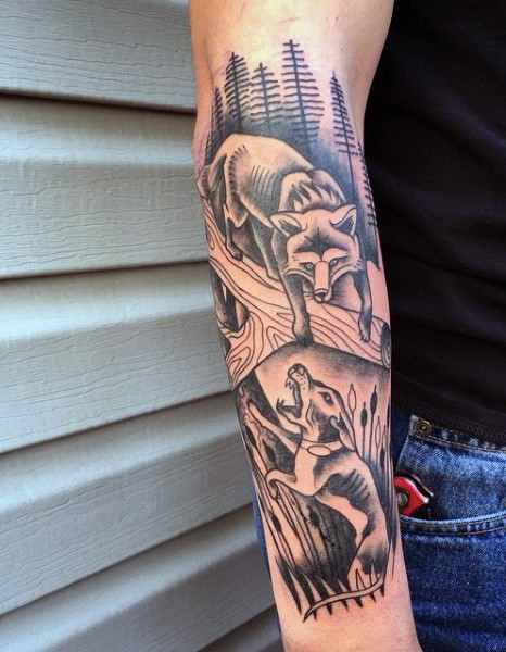 Illustrative style black and white forearm tattoo of hunting dog and fox