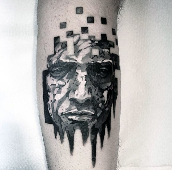 Illustrative style black and white man picture tattoo on leg