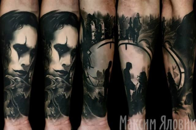 Illustrative style black ink forearm tattoo of tv movie Crow hero