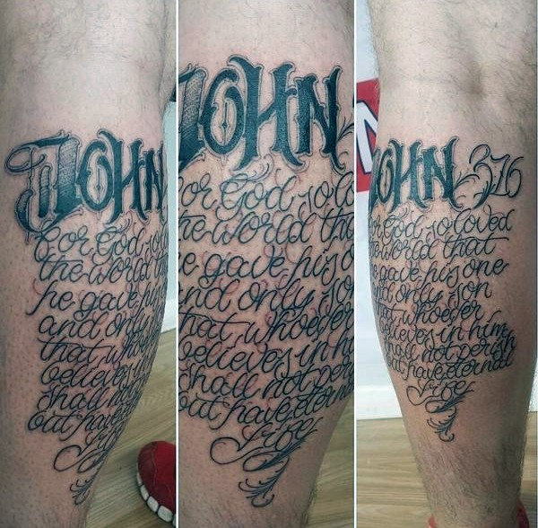 Illustrative style black ink leg tattoo of lettering with number