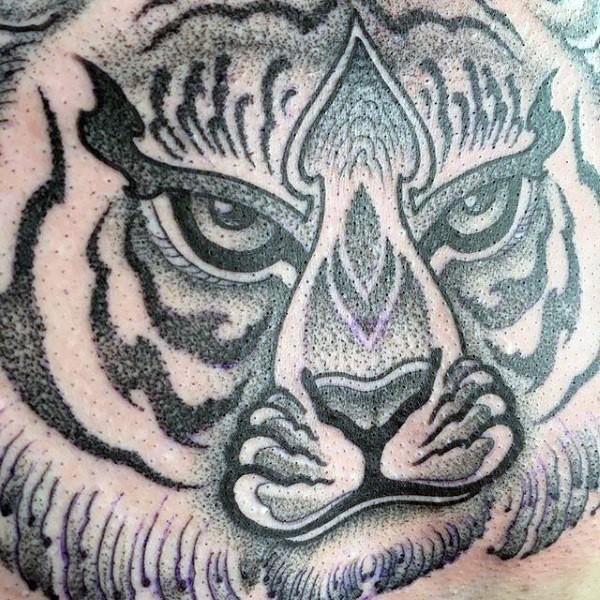 Illustrative style black ink tiger portrait tattoo