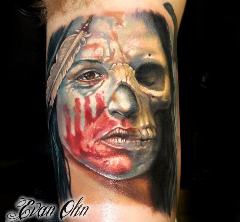 Illustrative style colored arm tattoo of Indian half woman half skull portrait