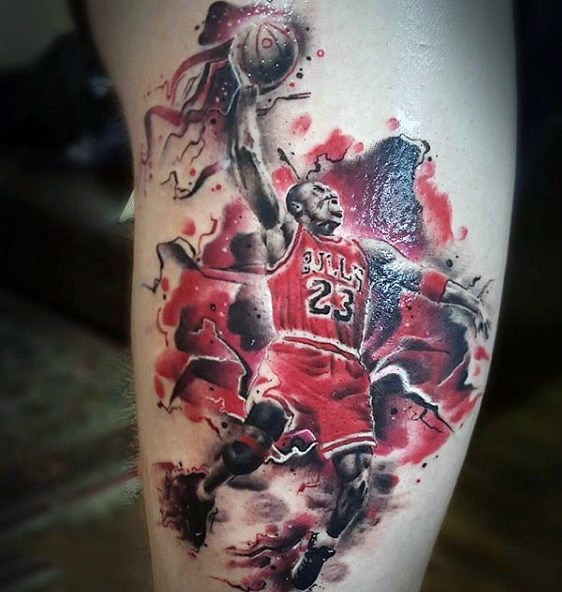 Illustrative style colored arm tattoo of air Jordan