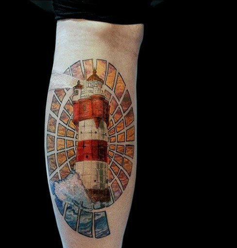 Illustrative style colored arm tattoo of beautiful looking lighthouse
