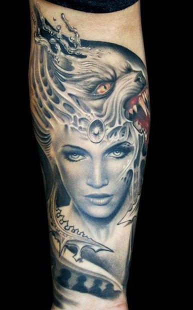 Illustrative style colored arm tattoo of woman with demonic helmet