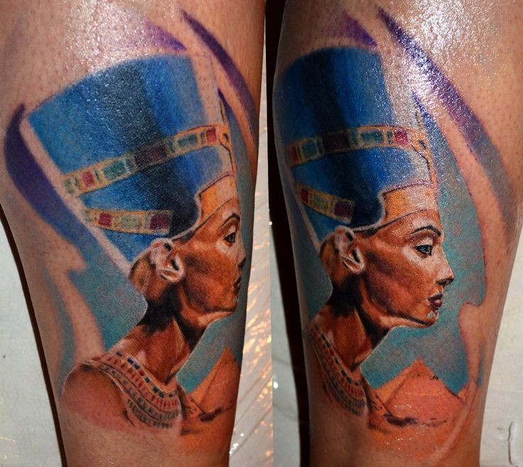 Illustrative style colored arm tattoo of Egypt queen