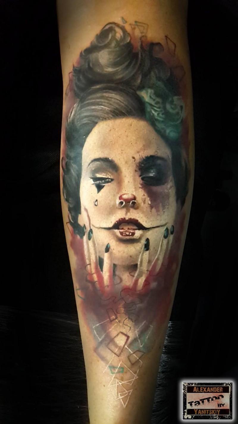 Illustrative style colored arm tattoo of creepy clown woman