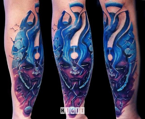 Illustrative style colored arm tattoo of fantasy alien face