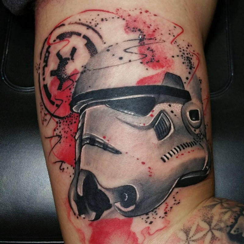 Illustrative style colored arm tattoo of Storm Troopers helmet