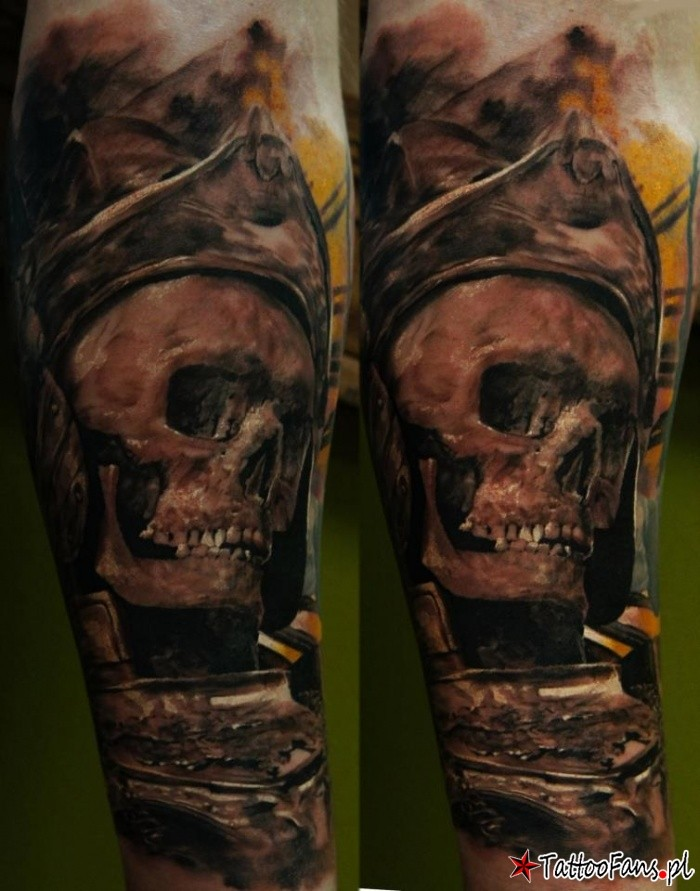 Illustrative style colored arm tattoo of pirate skeleton with helmet