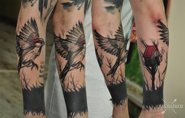 Illustrative style colored arm tattoo of flying bird with tree house