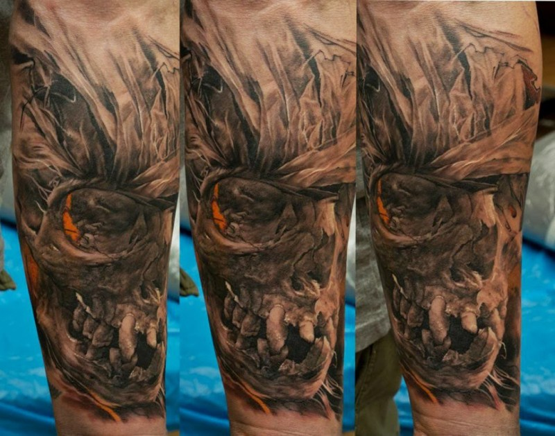 Illustrative style colored arm tattoo of fantasy skull