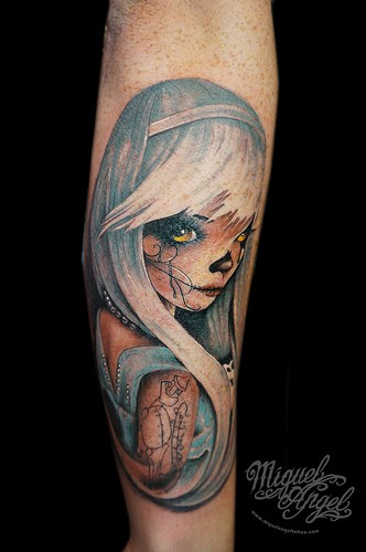 Illustrative style colored arm tattoo of interesting looking woman with tattoos