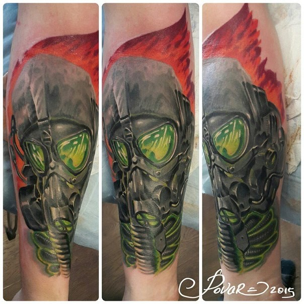 Illustrative style colored arm tattoo of fantasy man with gas mask