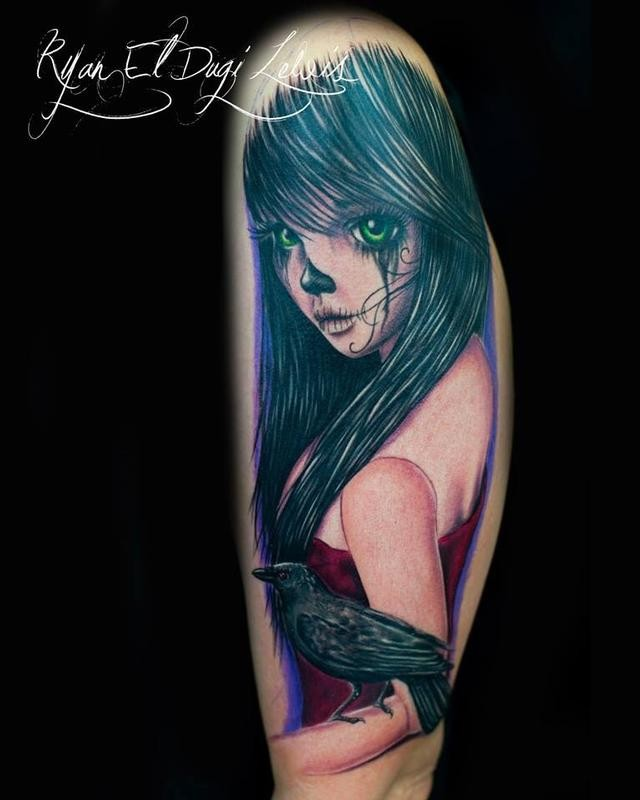 Illustrative style colored arm tattoo of beautiful woman with crow