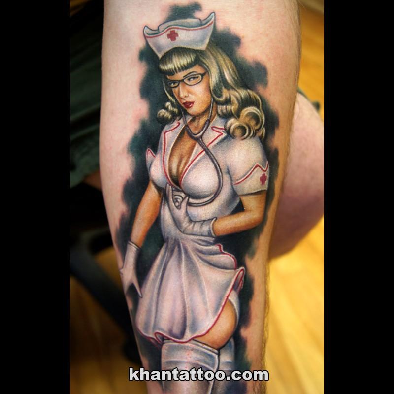 Illustrative style colored arm tattoo of sexy nurse