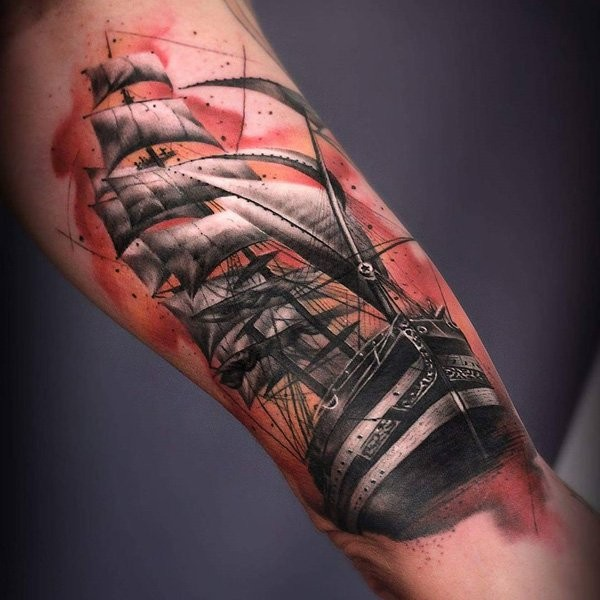 Illustrative style colored arm tattoo of big sailing ship
