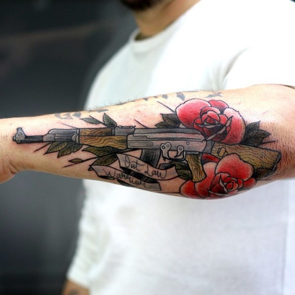 Illustrative style colored arm tattoo of ak rifle with for Tattoo of ak