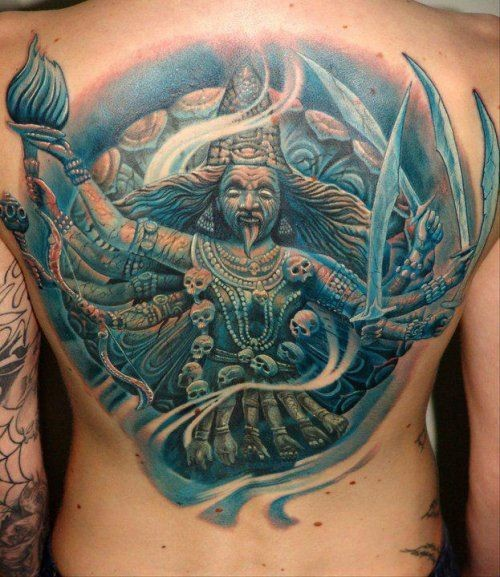 Illustrative style colored back tattoo of creepy Hinduism Goddess