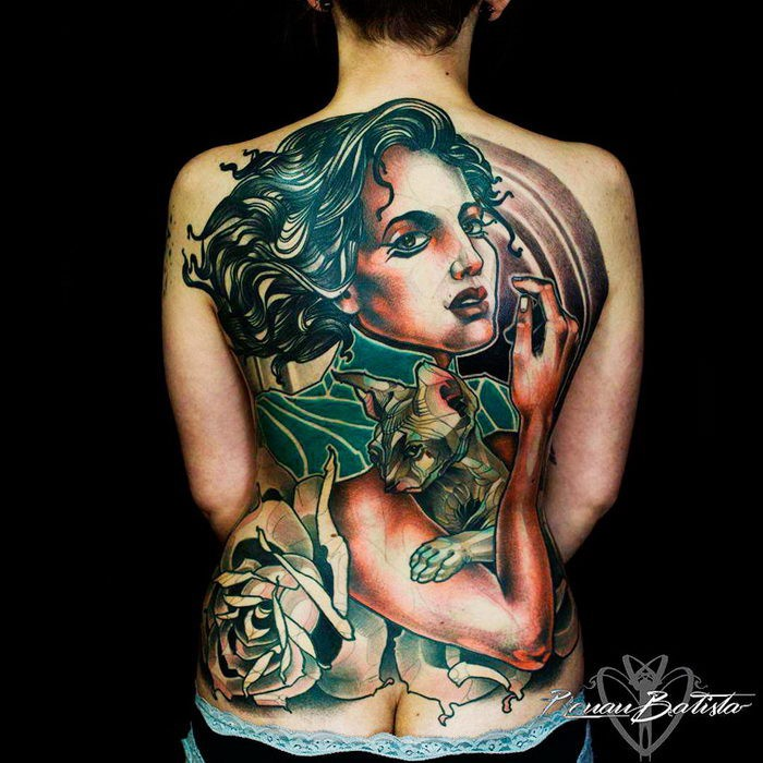 Illustrative style colored back tattoo of woman with cat