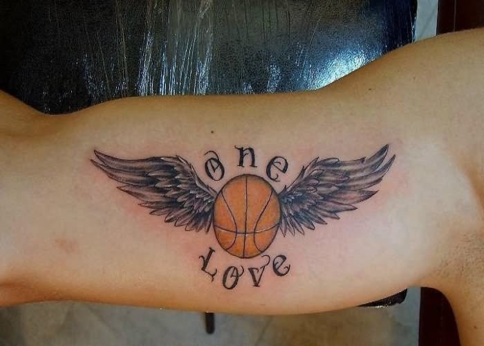 Basketball Chest Tattoos: Illustrative Style Colored Basketball With Wings Tattoo
