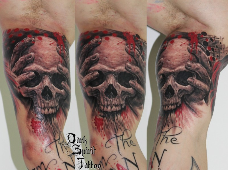 Illustrative style colored biceps tattoo fo bloody skull with lettering