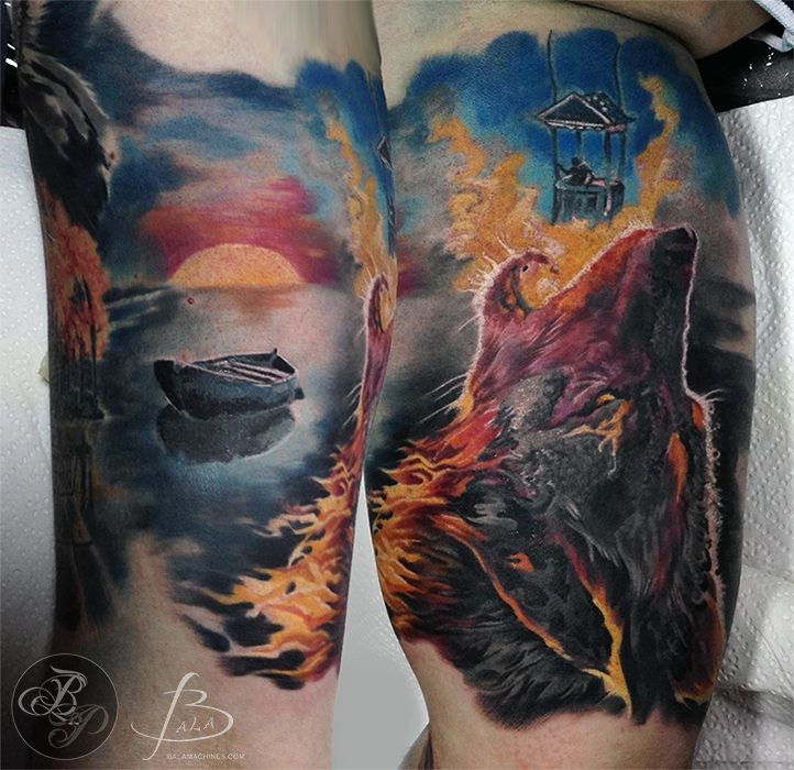 Illustrative style colored biceps tattoo of big bear with boat