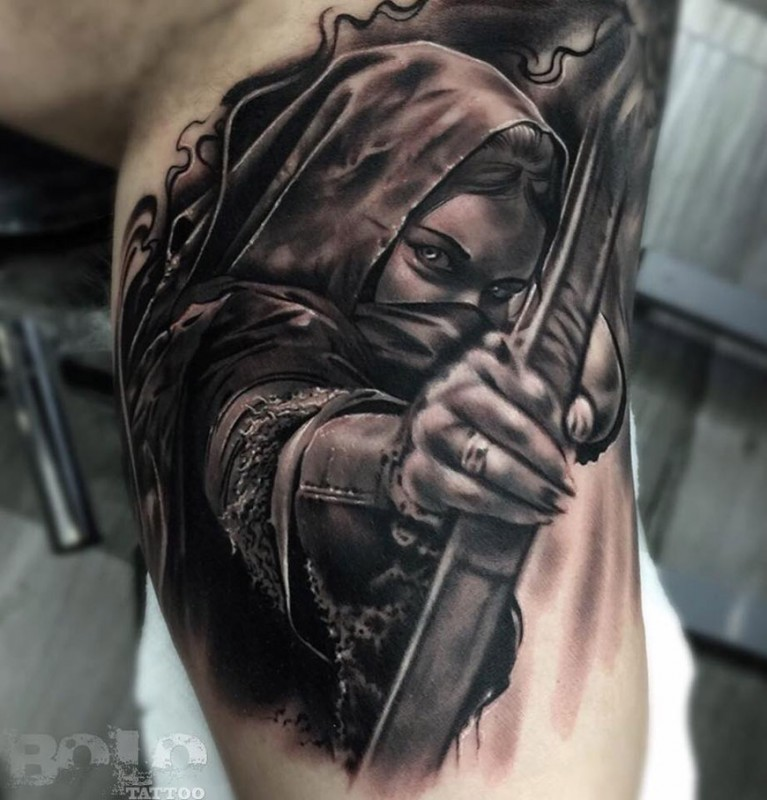 Illustrative style colored biceps tattoo of woman archer