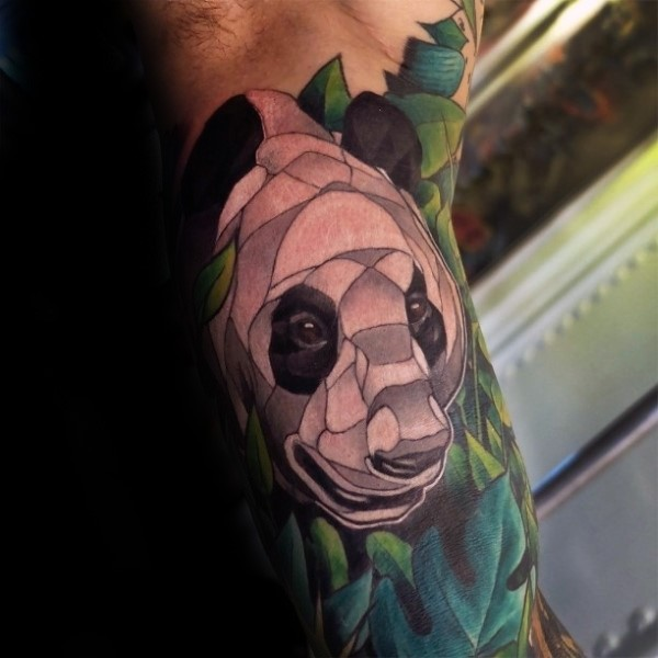 Illustrative style colored biceps tattoo of panda bear
