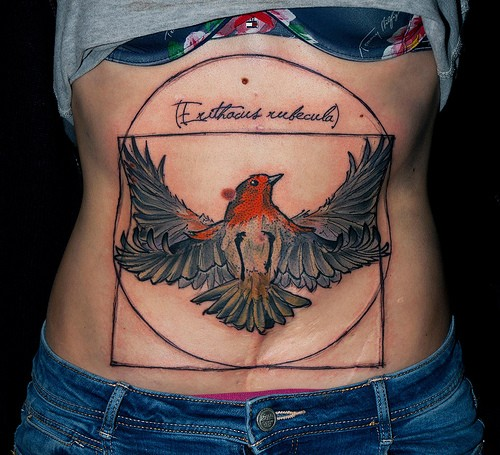 Illustrative style colored big belly tattoo of bird with various geometrical figures and lettering