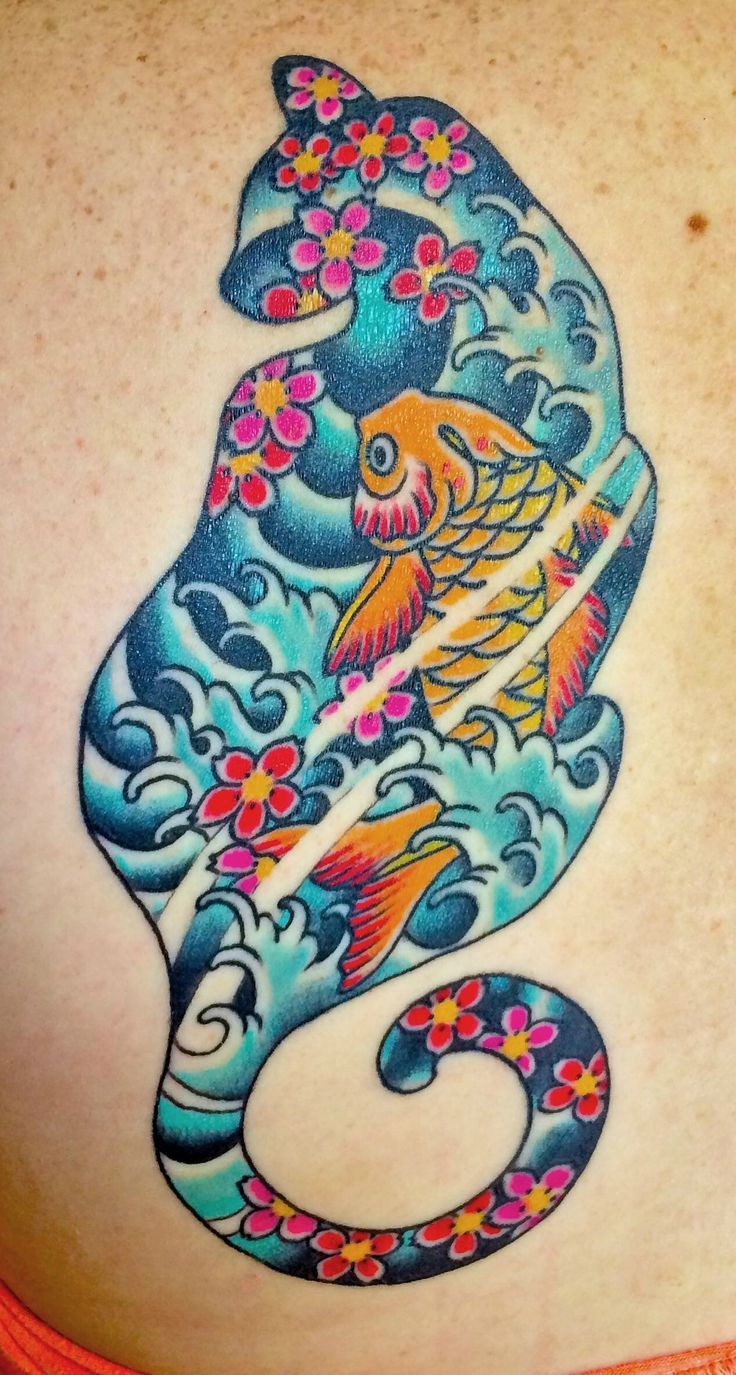 Illustrative style colored cat shaped tattoo stylized with carp fish and flowers