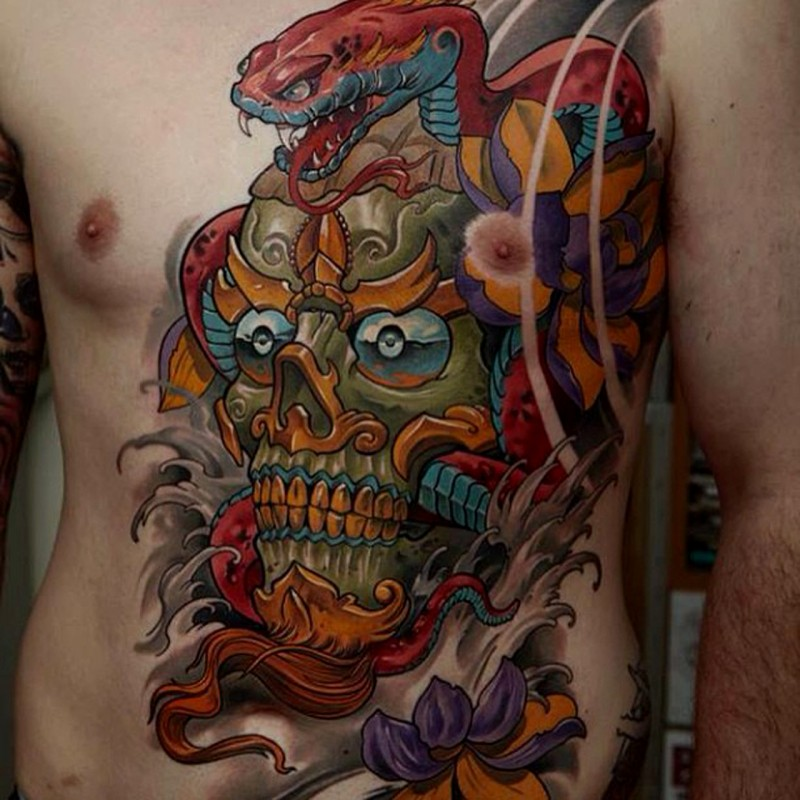 Illustrative style colored chest and belly tattoo mystical demonic mask and snake