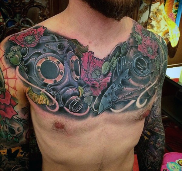 Illustrative style colored chest tattoo of interesting shaped gas masks