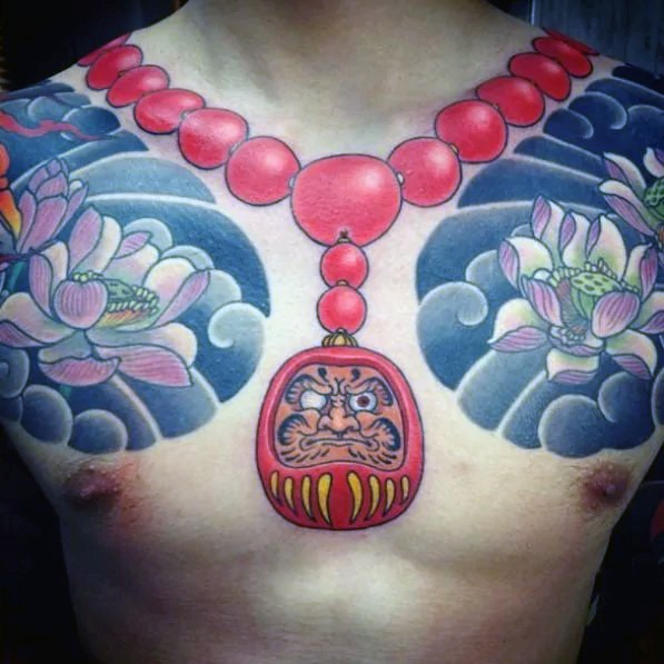 Illustrative style colored chest tattoo of daruma doll necklace and flowers