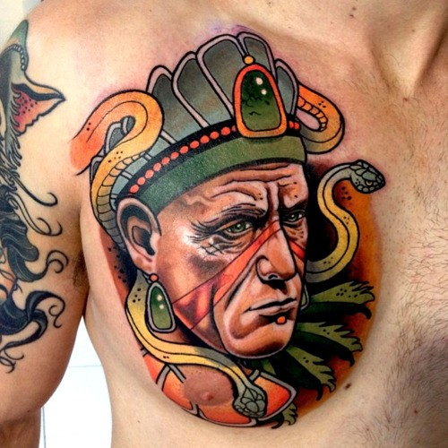 Illustrative style colored chest tattoo of ancient man with snakes