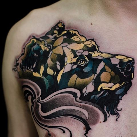 Illustrative style colored chest tattoo of sad dog