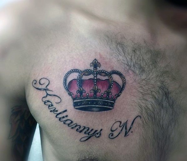 67 Most Powerful Crown Tattoos For Men: Illustrative Style Colored Chest Tattoo Of Crown And