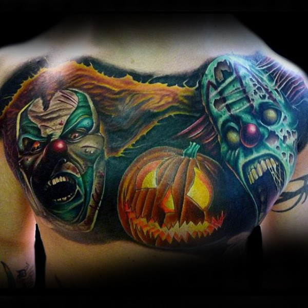Illustrative style colored chest tattoo of clown monsters and pumpkin
