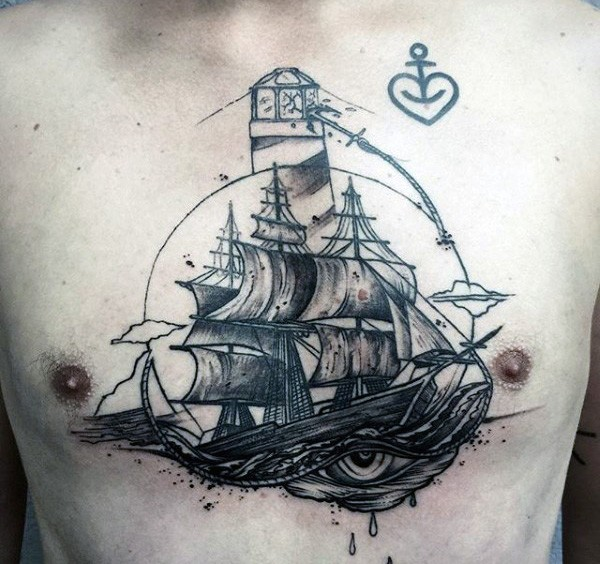 Illustrative style colored chest tattoo of sailing ship with lighthouse