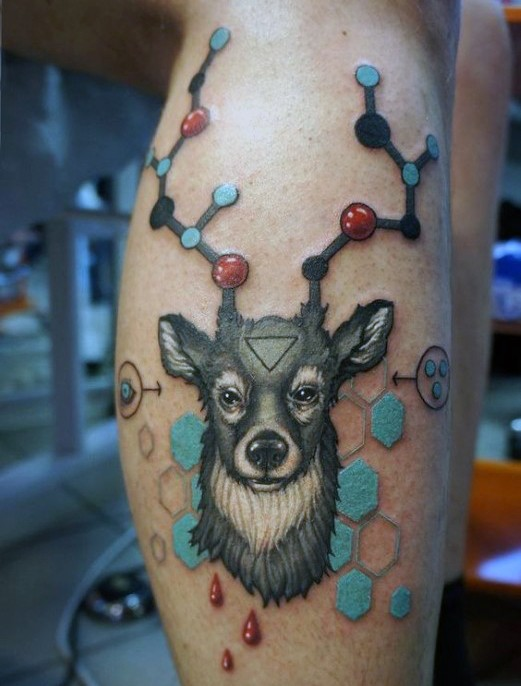 Illustrative style colored deer with chemistry